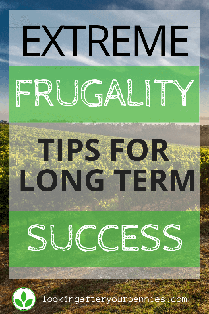 """Pinterest image stating """"Extreme Frugality Tips For Long Term Success"""""""