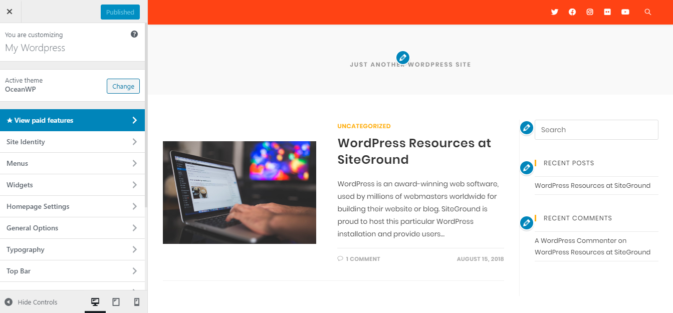 customise page in wordpress